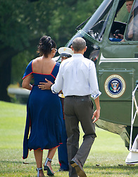 United States President Barack Obama and first lady Michelle Obama depart the White House in Washington, DC, USA, on Saturday, August 6, 2016 to travel to Martha's Vineyard, Massachusetts for their annual two week vacation. Photo by Ron Sachs/Pool/ABACAPRESS.COM