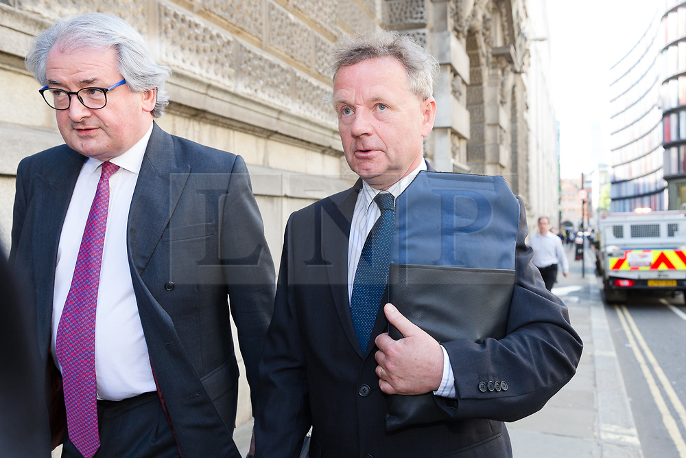 © Licensed to London News Pictures. 15/05/2018. London, UK. ANDREW HILL leaving The Old Bailey, Central Criminal Court in London following a plea hearing, where he pleaded not guilty. Andrew Hill was the pilot of a vintage jet which crashed onto a dual carriageway during the Shoreham Airshow killing 11 men. Mr Hill appeared charged with 11 counts of manslaughter and one count of endangering an aircraft, contrary to Article 137 of the Air Navigation Order 2009 after his Hawker Hunter jet crashed onto the A27 at Shoreham in West Sussex at 1.22pm on August 22, 2015. Photo credit: Vickie Flores/LNP