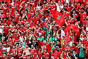 Moroccan fans during the 2018 FIFA World Cup Russia group B match between Portugal and Morocco at Luzhniki Stadium on June 20, 2018 in Moscow, Russia.