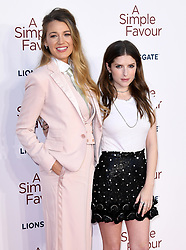 Blake Lively (left) and Anna Kendrick attending the Premiere of A Simple Favour held at The BFI Southbank, Belvedere Road, London. Picture credit should read: Doug Peters/EMPICS