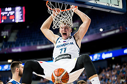 Luka Doncic of Slovenia dunks during basketball match between National Teams of Slovenia and Greece at Day 4 of the FIBA EuroBasket 2017 at Hartwall Arena in Helsinki, Finland on September 3, 2017. Photo by Vid Ponikvar / Sportida