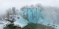 Aerial view of the Plitvice Lakes National Park in Winter, Croatia