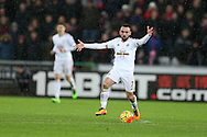 Leon Britton of Swansea city in action. Barclays Premier league match, Swansea city v Crystal Palace at the Liberty Stadium in Swansea, South Wales on Saturday 6th February 2016.<br /> pic by Andrew Orchard, Andrew Orchard sports photography.