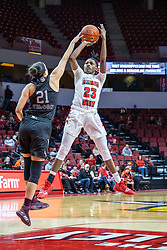 NORMAL, IL - February 27: Juliunn Redmond uses the fading jump shot to get over Sydney Wilson during a college women's basketball game between the ISU Redbirds and the Bears of Missouri State February 27 2020 at Redbird Arena in Normal, IL. (Photo by Alan Look)