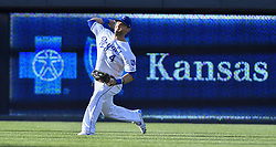July 15, 2017 - Kansas City, MO, USA - Kansas City Royals left fielder Alex Gordon throws to the plate on an attempted sacrifice fly by Texas Rangers' Carlos Gomez that froze Mike Napoli at third in the second inning July 15, 2017 at Kauffman Stadium in Kansas City, Mo. (Credit Image: © John Sleezer/TNS via ZUMA Wire)