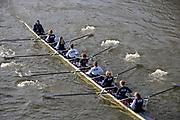 Putney, London, Varsity, 5th April 2019, OUWBC, Reserve Crew, pass through Hammersmith Bridge, Oxford/Cambridge Media week, Championship Course,<br /> [Mandatory Credit: Karon PHILLIPS], Friday  05/04/2019,