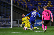 GOAL 1-0, AFC Wimbledon attacker Ryan Longman (29) during the EFL Sky Bet League 1 match between AFC Wimbledon and Peterborough United at Plough Lane, London, United Kingdom on 2 December 2020.