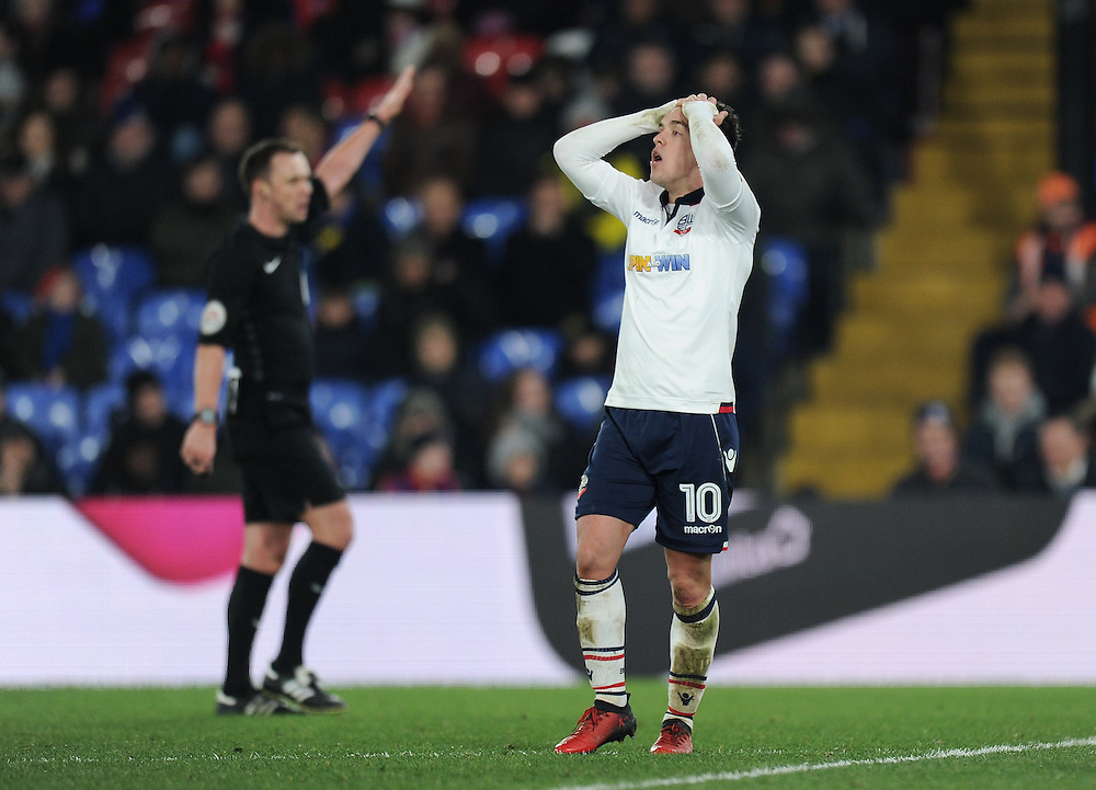 Bolton Wanderers' Zach Clough frustrated as his shot is blocked<br /> <br /> Photographer Ashley Western/CameraSport<br /> <br /> Emirates FA Cup Third Round Replay - Crystal Palace v Bolton Wanderers - Tuesday 17th January 2017 - Selhurst Park - London<br />  <br /> World Copyright © 2017 CameraSport. All rights reserved. 43 Linden Ave. Countesthorpe. Leicester. England. LE8 5PG - Tel: +44 (0) 116 277 4147 - admin@camerasport.com - www.camerasport.com