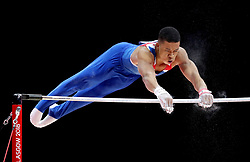 Great Britain's Joe Fraser competes on the horizontal bar in the Men's Gymnastics Team Final during day ten of the 2018 European Championships at the SSE Hydro, Glasgow.