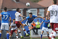 Ryan Delaney heads clear during the EFL Sky Bet League 1 match between Rochdale and Bradford City at Spotland, Rochdale, England on 21 April 2018. Picture by Daniel Youngs.