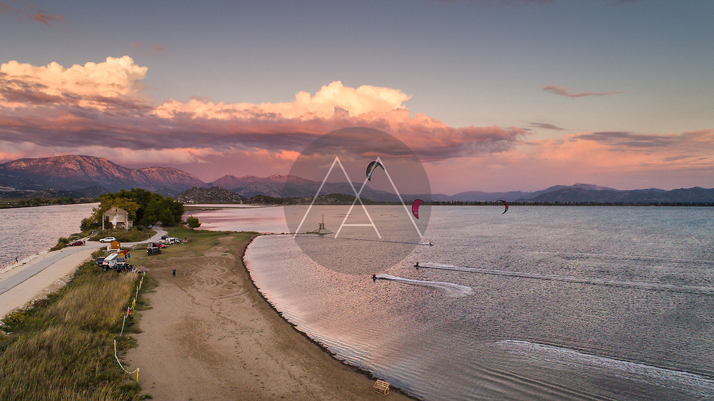 Aerial view of sunset at Neretva river mouth and one of the best places for kiteboarding in Croatia. Situated near the city of Ploce in Dalmatia, Croatia.
