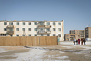Suburb. Celebration of Mongolian Lunar New Year, commonly known as Tsagaan Sar. It is the first day of the year according to the Mongolian lunar calendar. Dalanzadgab town.