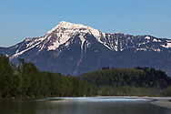 Mount Cheam and the Fraser River in the early evening - in Agassiz, British Columbia, Canada.