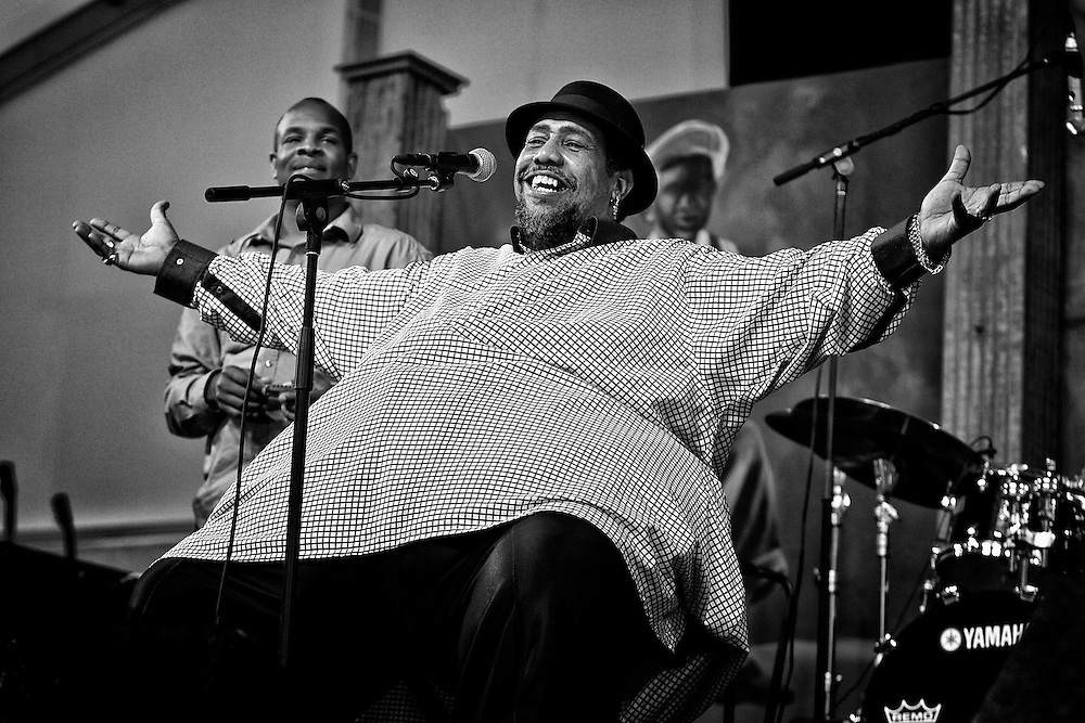Alton 'Big Al' Carson of Big Al Carson Blues Band performing in the Blues Tent at the 2011 New Orleans Jazz & Heritage Festival at the Fair Grounds Race Course in New Orleans, LA. USA.