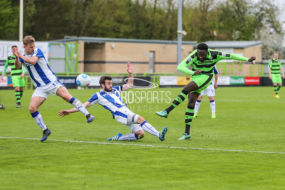 Forest Green Rovers Manny Monthe(3) shoots at goal misses the target during the Vanarama National League match between Forest Green Rovers and Chester FC at the New Lawn, Forest Green, United Kingdom on 14 April 2017. Photo by Shane Healey.