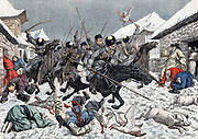 Russo-Japanese War 1904-1905:   Marauding Cossacks in a Korean village terrifying the local population.1904.