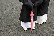 Japanese formal dressed monks with a pink umbrella