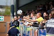 Leeds United fans at the Pirelli stadium during the EFL Sky Bet Championship match between Burton Albion and Leeds United at the Pirelli Stadium, Burton upon Trent, England on 22 April 2017. Photo by Richard Holmes.