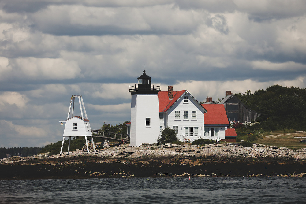 Burnt Coat Harbor Light on the rocky shores of Maine.
