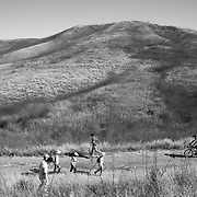People take to the trails in the Santa Monica Mountains to hike, bike and exercise. Although required by the mayor's Safer At Home order, most were not wearing masks or face coverings.