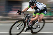 A competitor takes a corner during the Ixworth Crits, Ixworth, Suffolk, UK on 05 May 2014. Photo: Simon Parker
