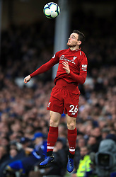 Liverpool's Andrew Robertson in action during the Premier League match at Goodison Park, Liverpool.