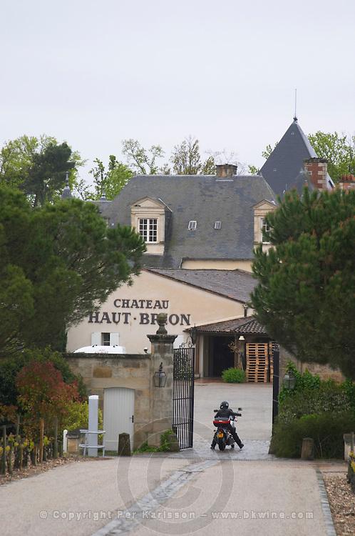 motorbike at entrance chateau haut brion pessac leognan graves bordeaux france