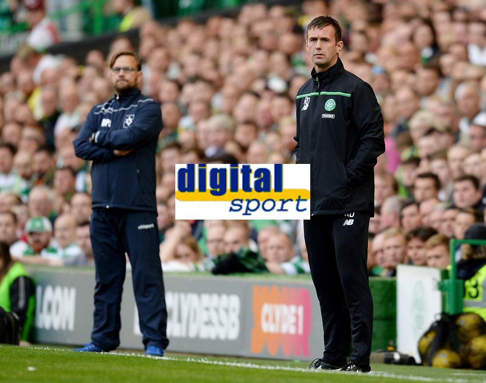 15/07/15 UEFA CHAMPIONS LEAGUE QUALIFIER<br /> CELTIC V STJARNAN<br /> CELTIC PARK - GLASGOW<br /> Celtic manager Ronny Deila in the dugout.