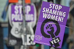 April 28, 2018 - Dublin, Ireland - A view of 'Stop SHaming Women!' Vote YES poster seen in Dublin, advocating repeal of the Eighth Amendment of the Irish Constitution - the referendum takes place on May 25th..On Saturday, April 28, 2018, in Dublin, Ireland. (Credit Image: © Artur Widak/NurPhoto via ZUMA Press)