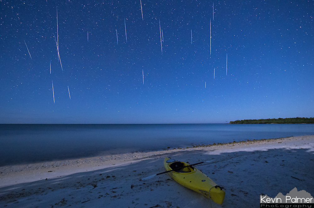 My camera captured these 19 meteors in only 93 minutes starting around midnight on December 14th. I was a bit disappointed that my camera battery died after this because I wondered how many more I missed. Despite the moonlight many meteors had no problem shining through. I couldn't think of a better place to watch the Geminid meteor shower than this remote island in Everglades National Park. I paddled out the day before and spent the night on Picnic Key. A lack of sleep, sickness, and battling the tide the next morning made it an exhausting trip. But it was worth it to see the best meteor shower of the year.<br /> <br /> Date Taken: 12/14/2014