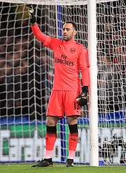 """Arsenal goalkeeper David Ospina during the Carabao Cup Semi Final, First Leg match at Stamford Bridge, London. PRESS ASSOCIATION Photo. Picture date: Wednesday January 10, 2018. See PA story SOCCER Chelsea. Photo credit should read: Mike Egerton/PA Wire. RESTRICTIONS: EDITORIAL USE ONLY No use with unauthorised audio, video, data, fixture lists, club/league logos or """"live"""" services. Online in-match use limited to 75 images, no video emulation. No use in betting, games or single club/league/player publications."""