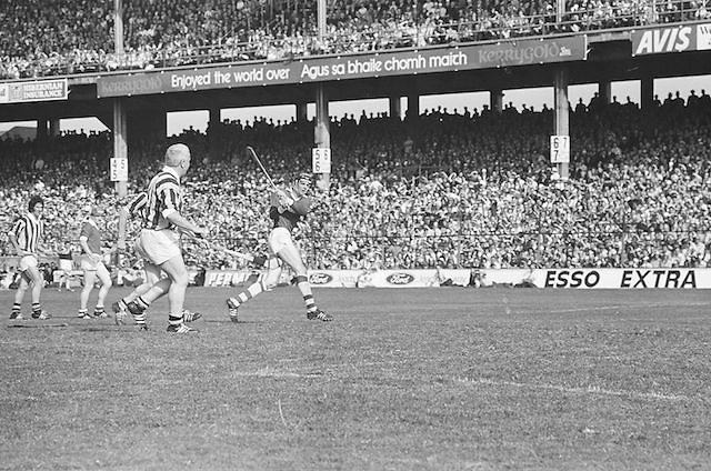 Cork plays hits the ball towards the goal during All Ireland Senior Hurling Final, Cork v Kilkenny in Croke Park on the 3rd September 1972. Kilkenny 3-24, Cork 5-11.