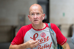 """London, July 16th 2017. Snow sports competitor and Film and television personality Eddie """"The Eagle"""" Edwards at the BBC's Broadcasting House in London"""