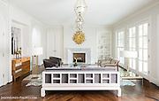 Living room in white modern Highland park Dallas area custom home