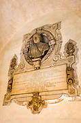 Memorial plaques in the Canon's Cloister, Basilica di San Lorenzo, Florence, Tuscany, Italy
