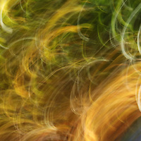 """""""Movin to the Groovin"""" <br /> <br /> You'll love the amazing swirls of glowing colors of golds and greens in this beautiful abstract!"""