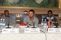Friidrett<br /> 08.06.16<br /> Jordbærparty / Strawberry Party <br /> ExxonMobil Bislett Games <br /> IAAF Diamond League <br /> Kim Collins , St. Kitts og Nevis<br /> Andre De Grasse , CAN<br /> Ameer Webb , USA<br /> Foto: Astrid M. Nordhaug/Digitalsport