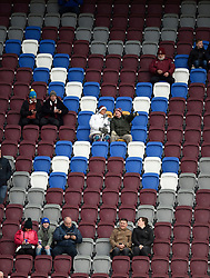 Hearts fans in the new stand before the Ladbrokes Scottish Premiership match at Tynecastle Stadium, Edinburgh.
