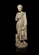 Roman statue of a Clerk. Marble. Perge. 2nd century AD. Inv no 2001/284 . Antalya Archaeology Museum; Turkey. Against a black background. .<br /> <br /> If you prefer to buy from our ALAMY STOCK LIBRARY page at https://www.alamy.com/portfolio/paul-williams-funkystock/greco-roman-sculptures.html . Type -    Antalya     - into LOWER SEARCH WITHIN GALLERY box - Refine search by adding a subject, place, background colour, museum etc.<br /> <br /> Visit our ROMAN WORLD PHOTO COLLECTIONS for more photos to download or buy as wall art prints https://funkystock.photoshelter.com/gallery-collection/The-Romans-Art-Artefacts-Antiquities-Historic-Sites-Pictures-Images/C0000r2uLJJo9_s0
