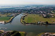 Nederland, Zuid-Holland, Vianen, 08-07-2010; Lek met uiterwaarden, de Pontswaard met ingang Merwedekanaal..Floodplains river Lek with entrance canal..luchtfoto (toeslag), aerial photo (additional fee required).foto/photo Siebe Swart
