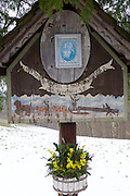 Easter in Southern Styria, Austria. Sausal in the snow. A Marterl.