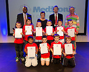 Athenry Boy's School with their Certificates for the participation at the Medtronic Junior FIRST LEGO League challenge with  Mc Paul Sneem  Medtronic's Caroline Healy and Medtronic's Martin Conroy and  Teacher Gavin Duffy at the Radisson Blu Hotel Galway. This is the second year The Galway Education Centre has hosted this competition - one of only six countries in the world who do so. Following the success of last year, over 500 school children from all over the country are expected to come along and practice their robotics, presentation and teamwork skills live on the night!. .Bernard Kirk, Director of The Galway Education Centre says; ?Working on this three day event every year is fun and exciting and always surprising. The talent, instinct and drive we discover in these young children is an inspiration to all of us. We look forward to the continued success of all of our challenges which would not be possible without the support of companies like Medtronic, SAP, HP and LEGO?. Photo:Andrew Downes