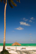 A thatched beach umbrella and traditional sunbeds made from coconut wood.<br /> Paje Beach, Zanzibar, Tanzania