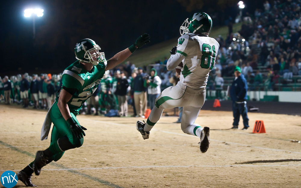 Weddington's Jake Yurek catches a pass in the end zone for a touchdown against Kannapolis during the second round of the NCHSAA 3AA playoffs Friday night at Kannapolis Memorial Stadium. The Wonders defeated Weddington 41-20 to advance to the quarterfinals where they will meet Charlotte Catholic. (Photo by James Nix)
