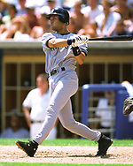 CHICAGO - 1999: Derek Jeter of the New York Yankees bats during an MLB game versus the Chicago White Sox during the 1999 season at Comiskey Park in Chicago, Illinois. (Photo by Ron Vesely) Subject:   Derek Jeter