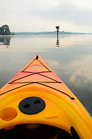 Point of view -kayak traveling on the Magothy river near the Chesapeake Bay.