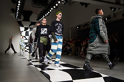 Models on the catwalk during the Liam Hodges London Fashion Week Men's AW18 presentation, held at the BFC show space, London. Picture date: Saturday January 6th, 2018. Photo credit should read: Matt Crossick/ EMPICS Entertainment.