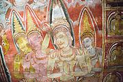 Buddha images in roof mural, Dambulla cave Buddhist temple complex, Sri Lanka, Asia