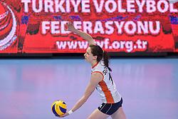 04-01-2016 TUR: European Olympic Qualification Tournament Nederland - Duitsland, Ankara <br /> De Nederlandse volleybalvrouwen hebben de eerste wedstrijd van het olympisch kwalificatietoernooi in Ankara niet kunnen winnen. Duitsland was met 3-2 te sterk (28-26, 22-25, 22-25, 25-20, 11-15) / Lonneke Sloetjes #10