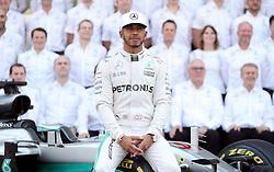 Mercedes' Lewis Hamilton during the end of year team photo before the Abu Dhabi Grand Prix at the Yas Marina Circuit, Abu Dhabi.